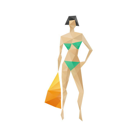 sunbath: Woman silhouette abstract isolated on a white background Illustration