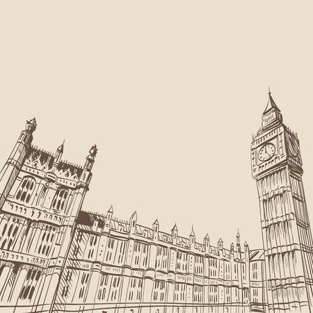 buckingham palace: Buckingham Palace hand drawn, vector illustration