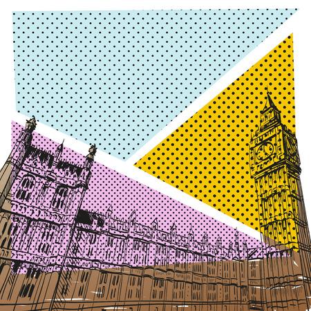バッキンガム宮殿の手描き、ベクトル イラスト  イラスト・ベクター素材