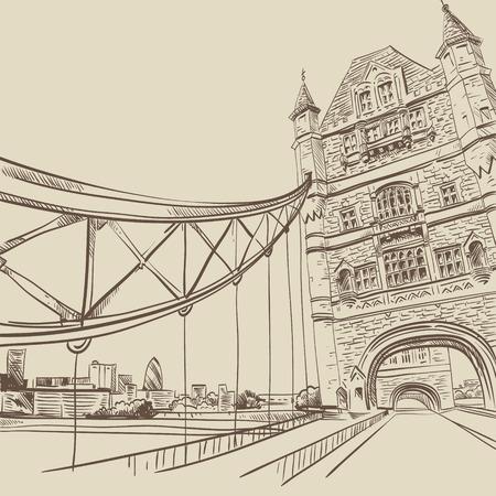 London bridge hand drawn, vector illustration Vector