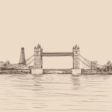 ロンドン ブリッジの手描き、ベクトル イラスト