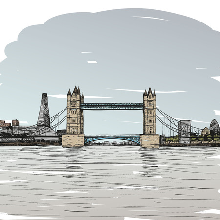 london bridge: London bridge hand drawn, vector illustration