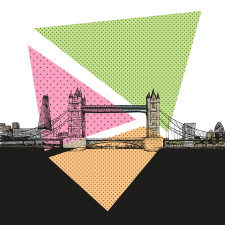 river thames: London bridge hand drawn, vector illustration