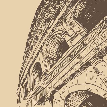 gladiatorial: Rome Coliseum hand drawn, vector illustration Illustration
