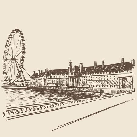 buckingham palace: London hand drawn, vector illustration