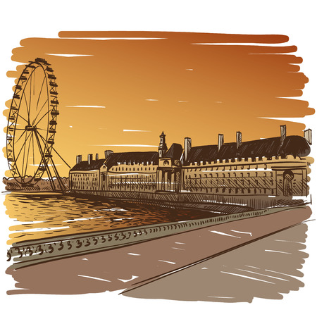 tower of london: London hand drawn, vector illustration