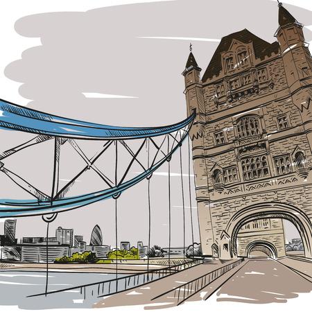 bridge hand: London bridge hand drawn, vector illustration
