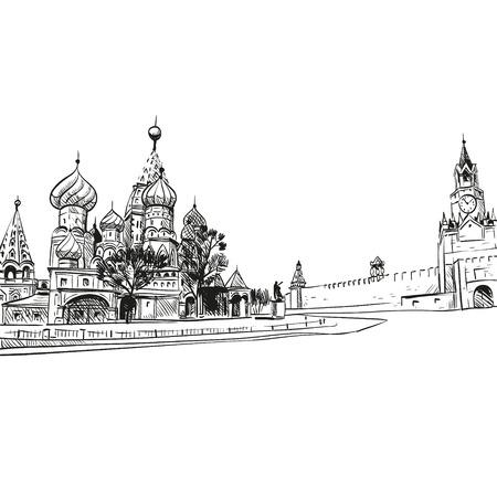 Saint Basil s Cathedral hand drawn, vector illustration