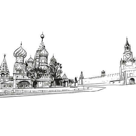 moscow churches: Saint Basil s Cathedral hand drawn, vector illustration