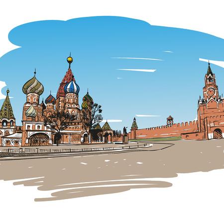 bridge construction: Saint Basil s Cathedral hand drawn, vector illustration