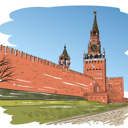 paving stone: Moscow Red square hand drawn, vector illustration