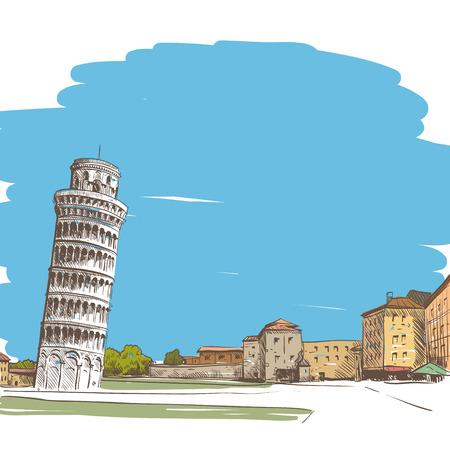 bell tower: Pisa hand drawn, vector illustration