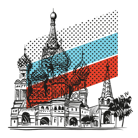 red square moscow: Saint Basil s Cathedral hand drawn, vector illustration