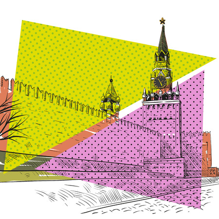 red square moscow: Moscow Red square hand drawn, vector illustration