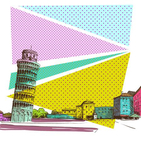bridge construction: Pisa hand drawn, vector illustration