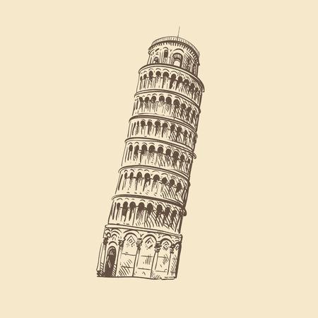 leaning tower of pisa: Pisa hand drawn, vector illustration