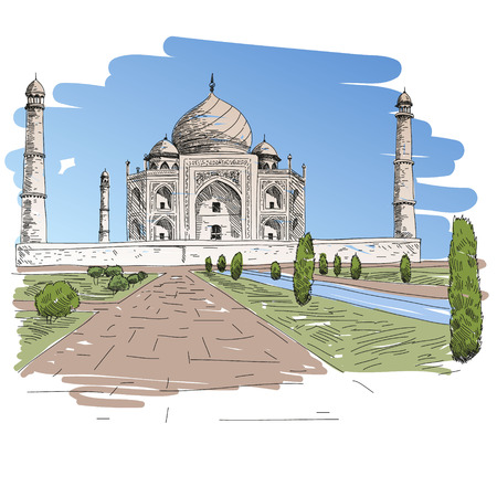 Hand drawn Taj Mahal, vector illustration Vector