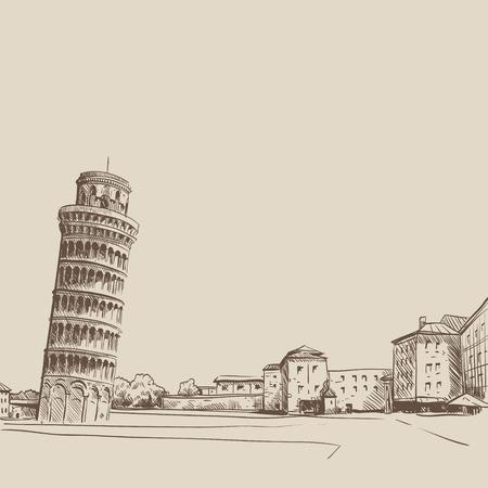torre: Pisa dibujado a mano, ilustración vectorial