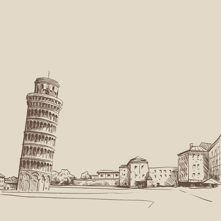 Pisa hand drawn, vector illustration