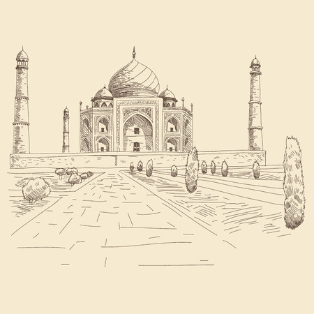 mahal: Hand drawn Taj Mahal, vector illustration