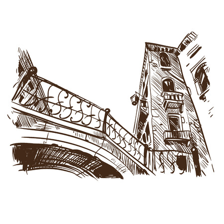 Venice city hand drawn, vector illustration