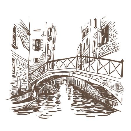 bridge hand: Venice city hand drawn, vector illustration