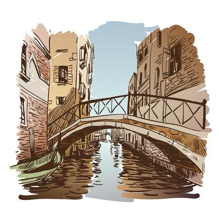 Venice city hand drawn, vector illustration Vector