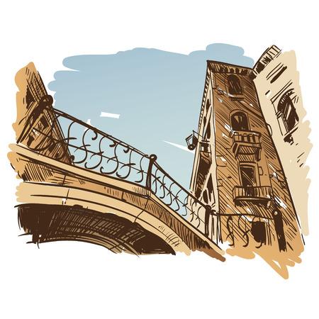 lagoon: Venice city hand drawn, vector illustration