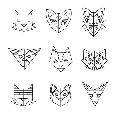 Set of abstract cats, vector illustration Vector