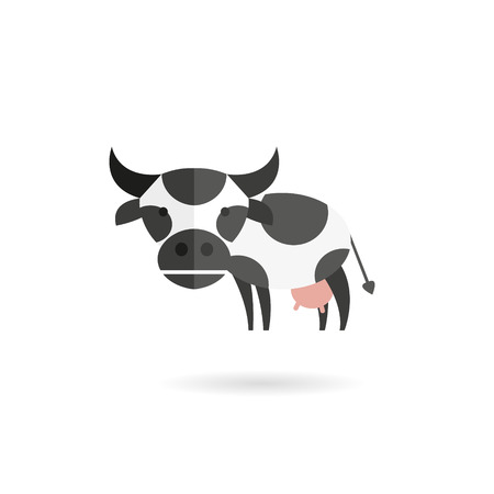cow vector: Cow abstract isolated on a white backgrounds, vector illustration
