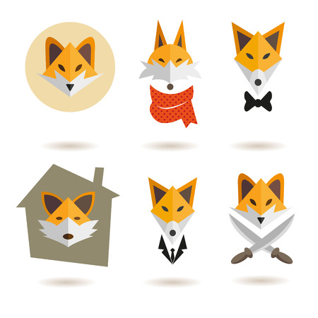 head scarf: Fox heads abstract isolated on a white backgrounds, vector illustration
