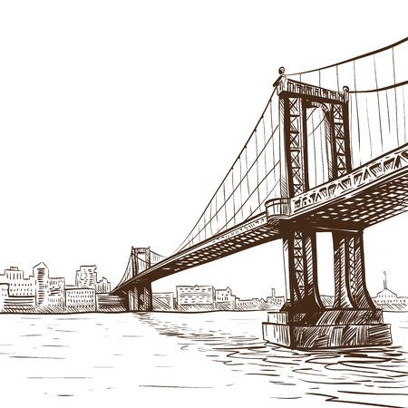 ベクトル イラスト、手で描かれた橋