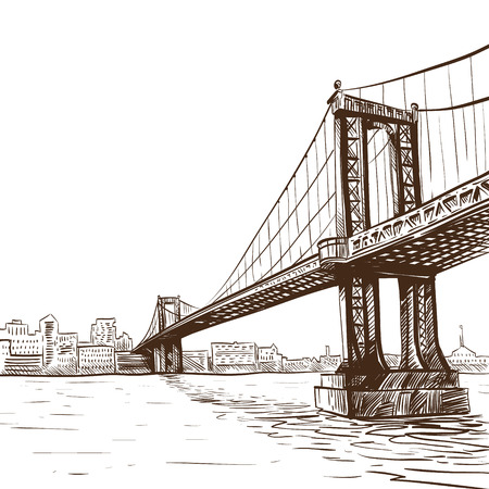 Hand drawn bridge, vector illustration