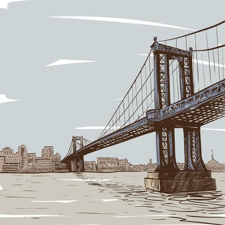 hinged: Hand drawn bridge, vector illustration