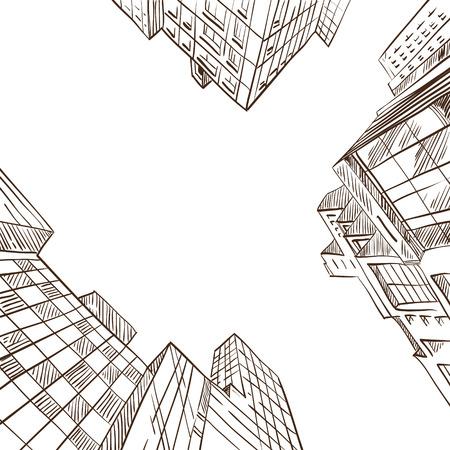 Hand drawn cityscape, vector illustration  Vettoriali