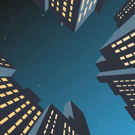 comic book: Night cityscape, vector illustration