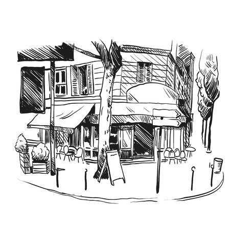 restaurant exterior: Cafe hand drawn, vector illustration