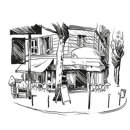 Cafe Hand gezeichnet, Vektor-Illustration Standard-Bild - 31878001