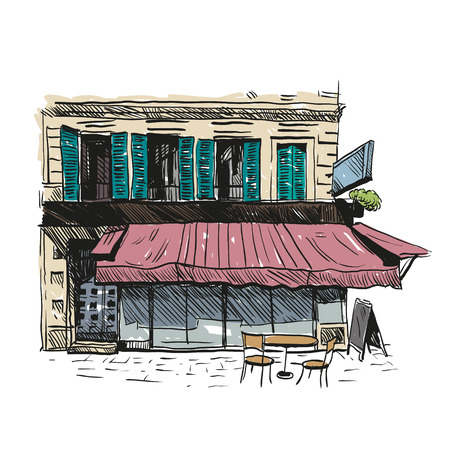 fashion building: Cafe hand drawn, vector illustration