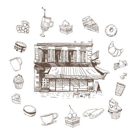 カフェ手描き、ベクトル イラスト