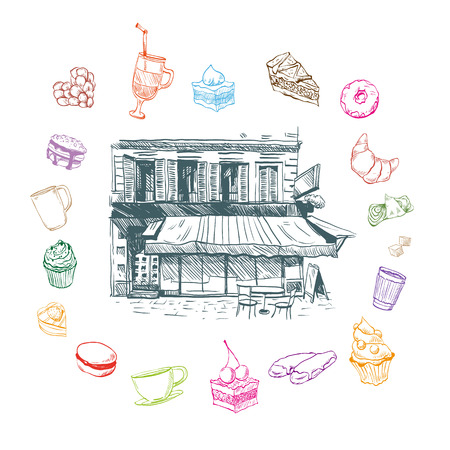 book store: Cafe hand drawn, vector illustration