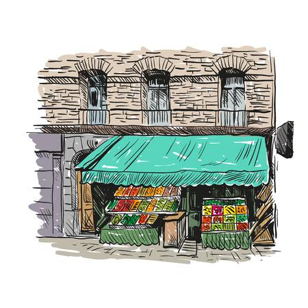 食料品ショップ手描き、ベクトル イラスト