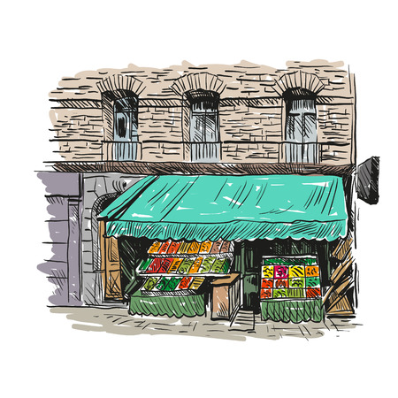 Grocery shop hand drawn, vector illustration