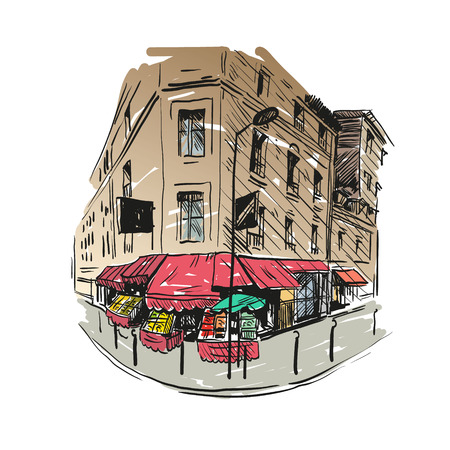 tar felt: Grocery store hand drawn, vector illustration