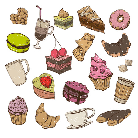 eclair: Confection hand drawn, vector illustration Illustration
