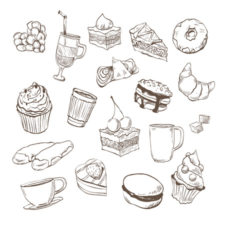Confection hand drawn, vector illustration Illustration