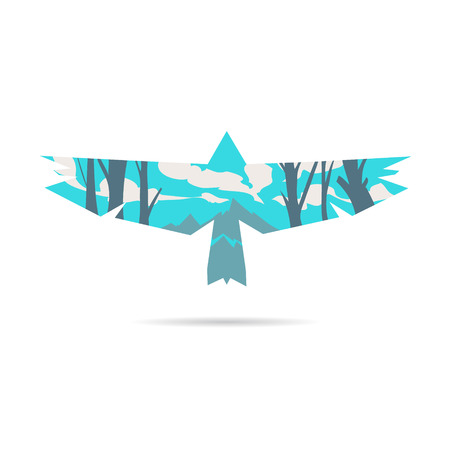 soaring: Bird abstract isolated on a white backgrounds
