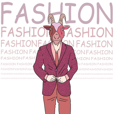 Fashion illustration of goat in a hipster style Vector