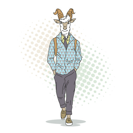 style goatee: Fashion illustration of goat model