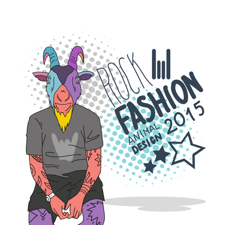 Fashion illustration of goat teenager style  Vector
